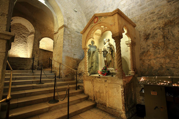 Staircase leading to the cave of Saint Michael the Archange, Apulia, Italy
